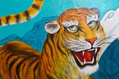 Pintura de tigre en pared — Foto de Stock