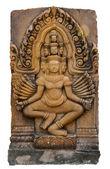 Carved stone of brahma god isolated — Stock Photo