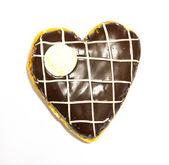 Heart shaped chocolate donut — Stock Photo