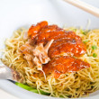 Grilled duck with yellow noodle — Stockfoto