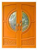 Thai style wooden doors — Stock Photo