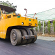 Stock Photo: Steamroller on asphalt road