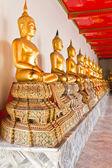 Golden sitting Buddha statue in row — Stock Photo