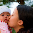 Asian woman kiss her baby — Stock Photo #9211402