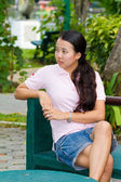 Distracted woman in park — Foto Stock