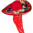Постер, плакат: Red pepper wearing colorful sombrero