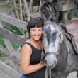 Portrait happy smiling woman with horse — Stock Photo