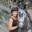 Stock Photo: Portrait happy smiling woman with horse