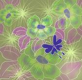 Jarní pozadí s květinami a motýli — Stock fotografie
