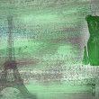 Green background with woman and Paris - Lizenzfreies Foto