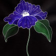 Royalty-Free Stock Photo: Nice watercolor blue flower and black background