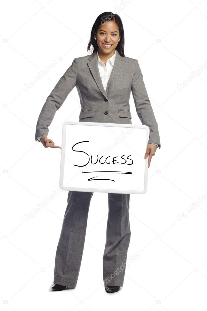 Young business woman holding placard with success written on it Isolated over white background — Stock Photo #9277463