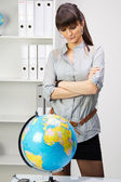 Where a woman is contemplating a holiday — Stock Photo