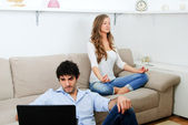 Relaxation in the living room — Stock Photo