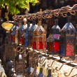Moroccan glass and metal lanterns lamps in Marrakesh souq — Stock Photo
