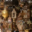 Stock Photo: Moroccan glass and metal lanterns lamps in Marrakesh souq