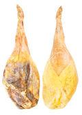 Jamon serrano, whole leg two sides, A Spanish ham isolated over — Stock Photo