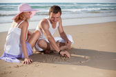 The picture of love on the sand — Stock Photo