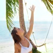 Summer joy under the palm tree — Stock Photo