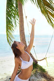 Summer joy under the palm tree — Stock Photo