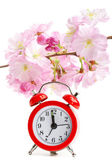 Arrival of spring concept: clock and sakura flowers — Stockfoto