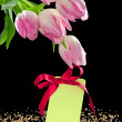 Beautiful tulips and a blank gift tag with bow — Stock Photo
