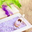 Stock Photo: Bath salt with soap and lucky bamboo