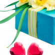 Two red glass hearts with a gift box and flowers, on white — Stock Photo