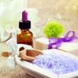 Bath salt with soap and essential oil — Stock Photo