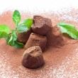 Stock Photo: Chocolate truffles with fresh mint dusted with cocopowder