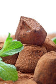 Chocolate truffle with fresh mint dusted with cocoa powder — Stock Photo