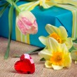 Royalty-Free Stock Photo: Valentine\'s day concept: red heart with gift box and flowers