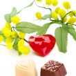 Gift and heart shaped chocolates with a heart and mimosa flowers — Stock Photo