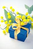 Geschenkbox mit mimosen blüten — Stockfoto