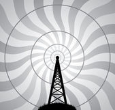 Vector radio tower and air waves — Stock Vector