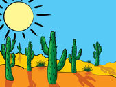 Vector cactus in desert — Vector de stock