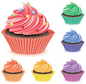 Vector colorful cupcakes — Stock Vector