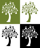 Vector set of pear trees — Stock Vector