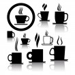 Vector set of coffee and tea cup icons and symbols — Stock Vector