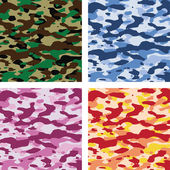 Vector colorful camouflage patterns — Stock Vector