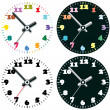 Stock Vector: Vector set of colorful clocks