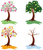 Vector set of apple trees — Stock Vector