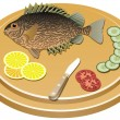 Stock Vector: Vector fish and vegetables on board