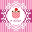 Vector retro cupcake card — Stock Vector