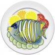 Vector fish and vegetables on a plate — Stock Vector #10660698