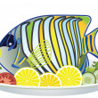 Vector fish and vegetables on a plate — Stock Vector #10660699