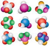 Vector abstract molecule icon set — Stock Vector