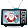 Royalty-Free Stock Vector Image: Vector santa claus in retro tv set