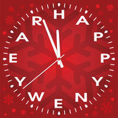 Vector happy new year clock — Vector de stock