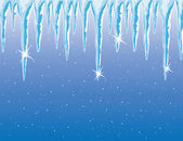 Vector icicles and snowfall — Stock Vector